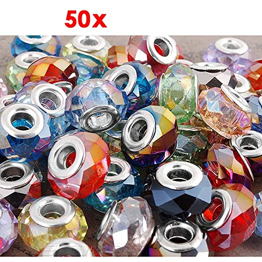 40 opinioni per 50 pz CHARMS PERLINE IN CRISTALLO COLORI ASSORTITI 14x9mm