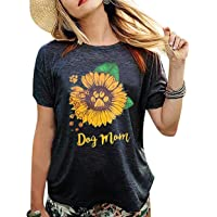 KIDDAD Women's Dog Mom Sunflower Funny T-Shirt Dog Paws Graphic Short Sleeve Loose Tee Tops