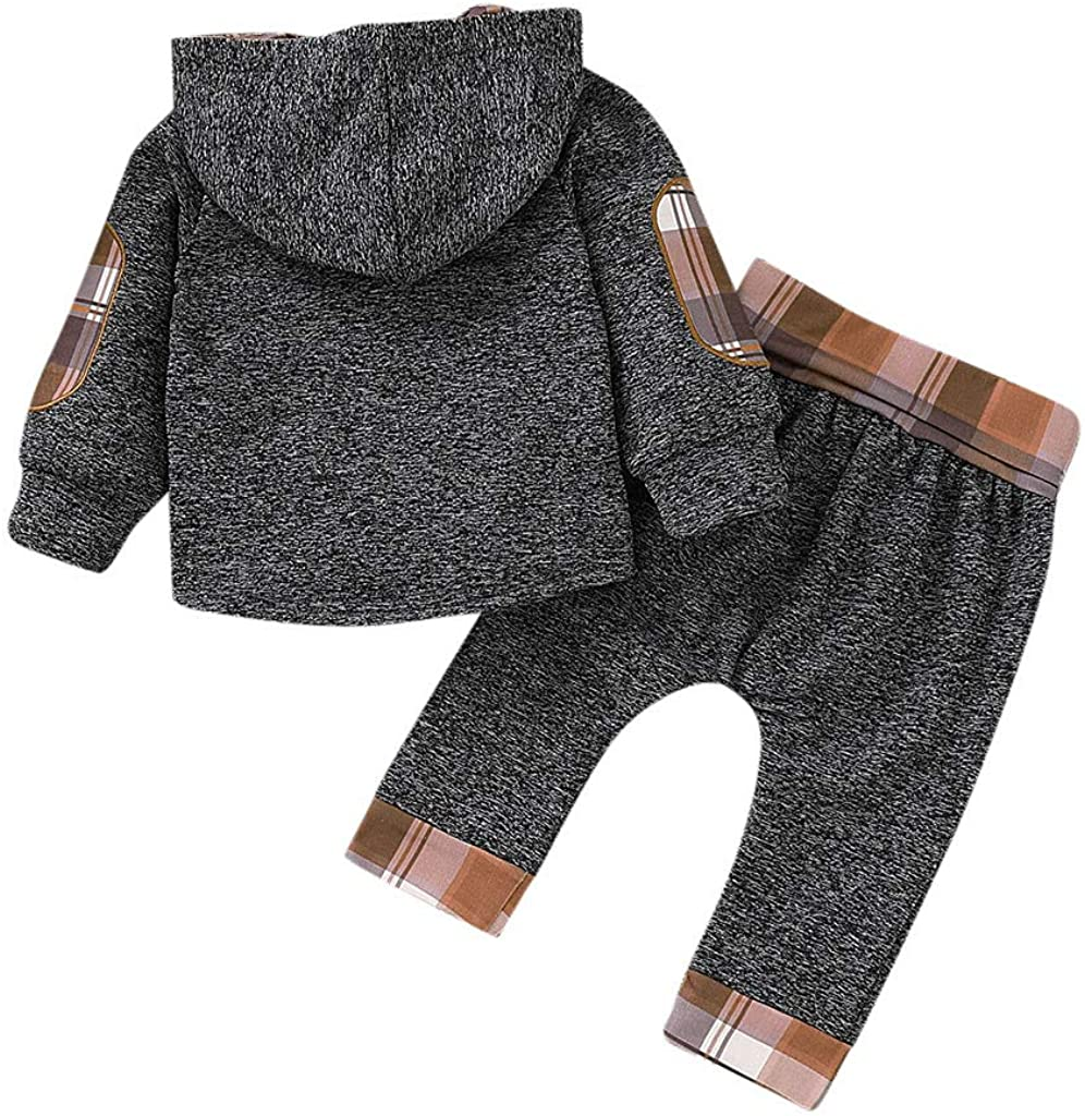 Boys Tops SHOBDW Kid Girl Fashion Splicing Plaid Hoodie Pocket Spring Winter Warm Sweatshirt Pullover Toddler Baby Clothes