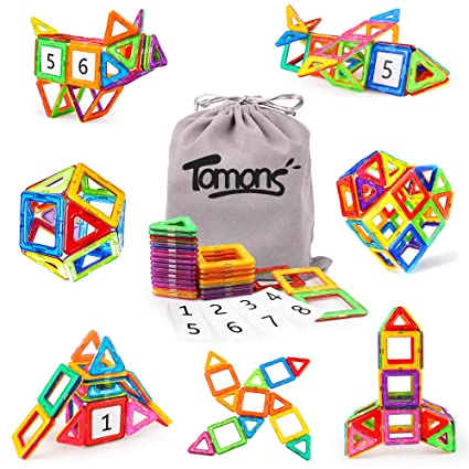 Tomons Magnetic Blocks Building Set for Kids, Magnetic Tiles Educational  Building Construction Toys for Boys and Girls with Storage Bag