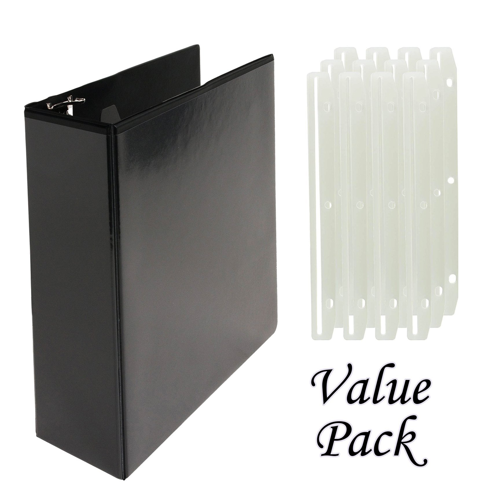 3 Inch Magazine/Catalog Binders, View Binder, with 3-Hole Punched Plastic Strip Magazine Holders 12 Pcs – Perfect for Magazine/Catalog Organizing, Collecting and Storaging – Value Set - (Black Binder)