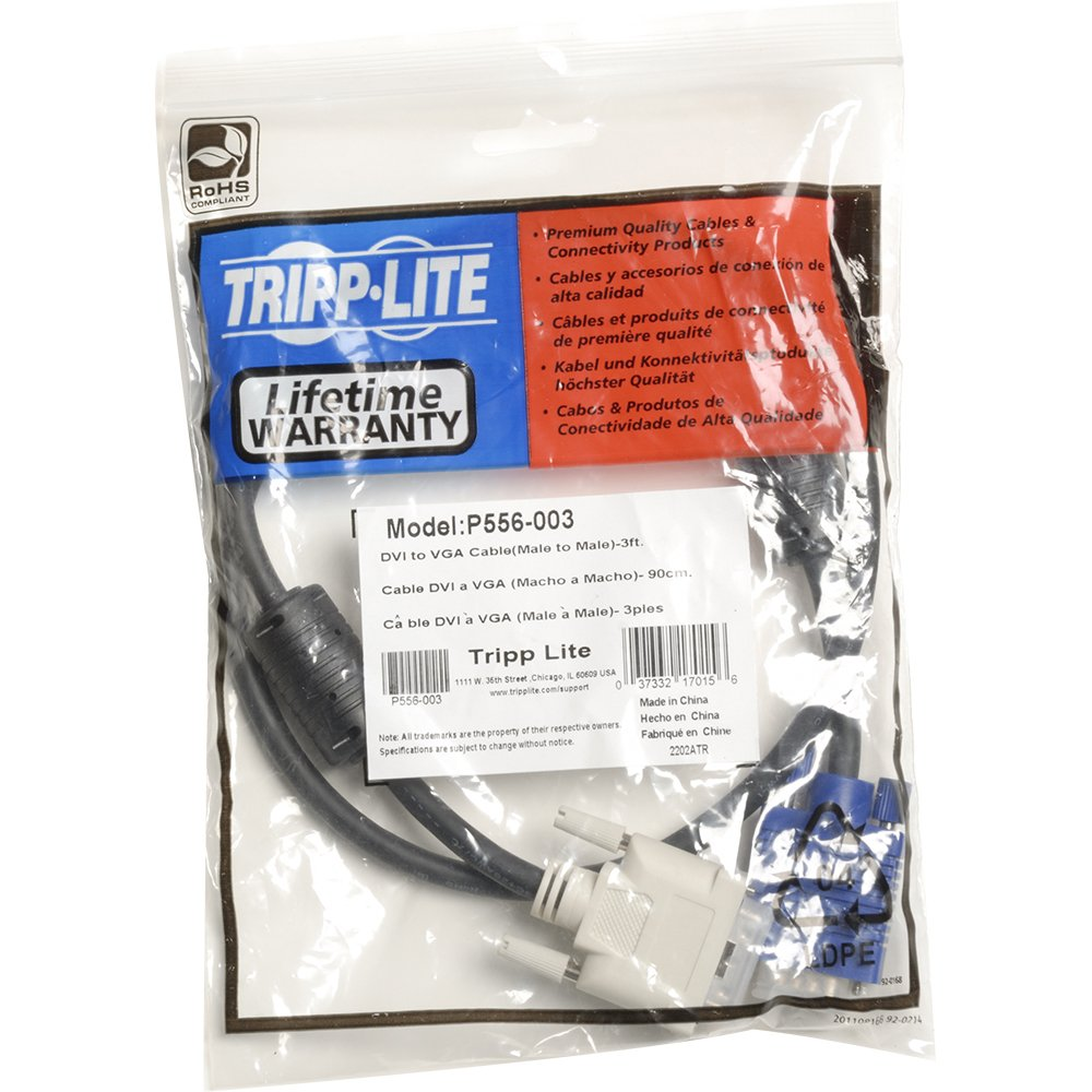 Tripp Lite Dvi To Vga Monitor Cable High Resolution Kabel Standar With Rgb Coax A M Hd15 3 Ftp556 003 Computers Accessories