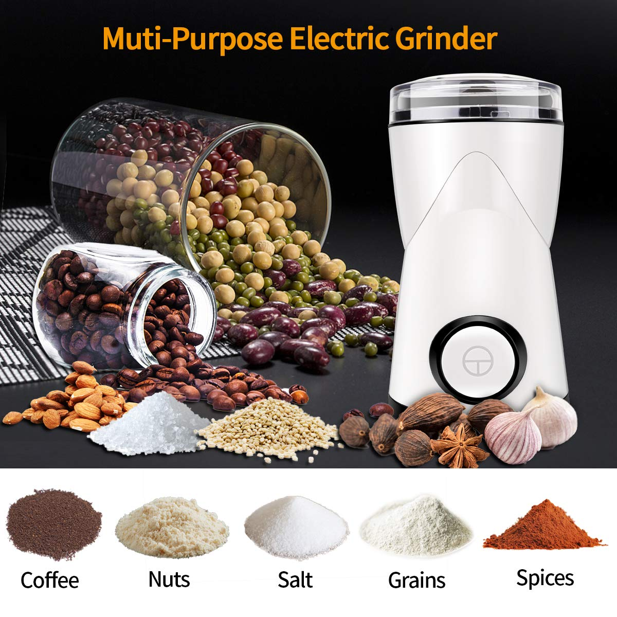 Precision Electric Coffee Grinder Mill with Large Grinding Capacity, HD Motor and Brush Coffee Machine Parts for Spices, Herbs, Nuts, Grains and More Water Filters