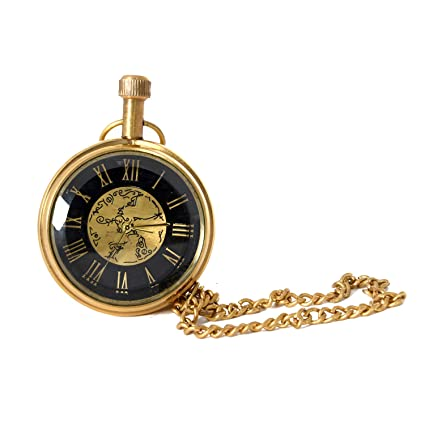 Home Decorative Items | Gift Shop Handicraft Gifts Brass Antique Look Gandhi Watch (Product Dimensions: (inches) 2 x 2 x 2.3)
