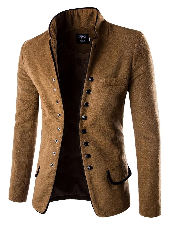 La Vogue Men Spring Stand Collar Slim Fit Casual Wool Coat