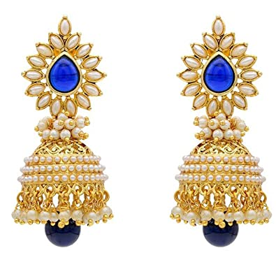 Jewelry & Watches Lovely Indian Ethnic Gold Plated Blue Stone Pearl Earring Jhumka Bollywood Jewelry