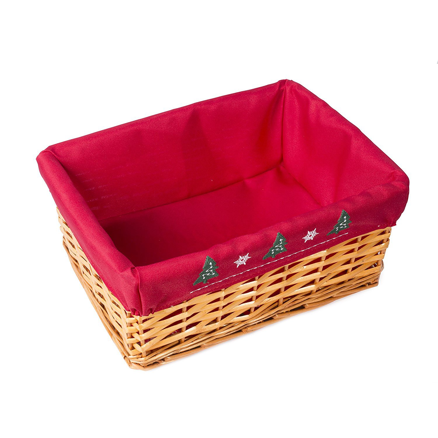Red lined Honey Wicker Trays Retail Display Christmas Gift Hampers Two Sizes (Medium) Basic House Ltd