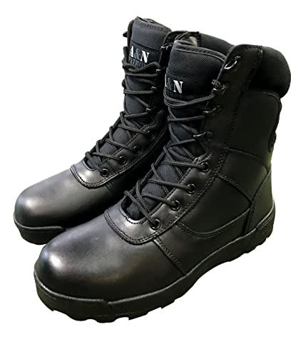 9e5a1204a4a Black All Leather Cadet Army Combat Patrol Boots Tactical Military Security  Police