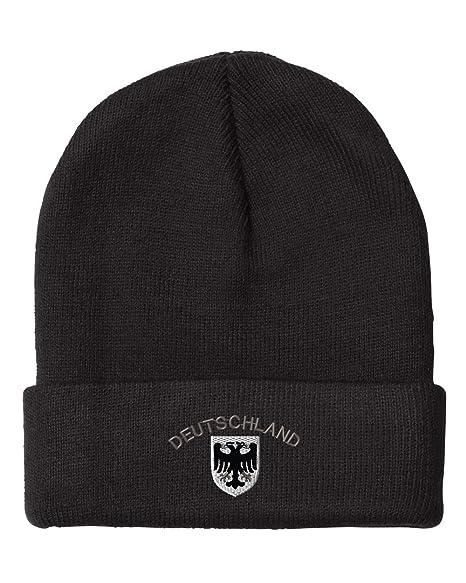228d5a4c642 Deutschland Black White German Eagle Sew Unisex Adult Acrylic Beanie Winter  Hat - Black