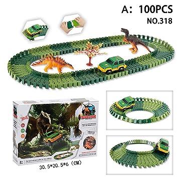 Eruditter Magic Car Track Juego de Pista de Carreras de Coches Juego de ensamblaje de Juguetes para Niños Ferrocarril Carros de Carreras Dinosaur Theme Tema ...