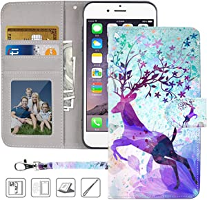 iPhone 6S Wallet Case,iPhone 6 Wallet Case,MagicSky Premium PU Leather Flip Folio Case Cover with Wrist Strap, Card Holder,Cash Pocket,Kickstand for Apple iPhone 6/6S 4.7 inch(Colorful Deer)