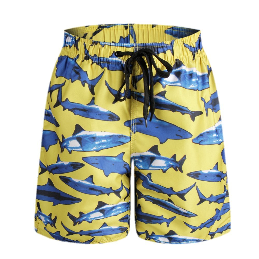 ORANSSI Big Boys Kids Shark Printed BoardShorts with Pockets, Yellow, L(US 14-16)
