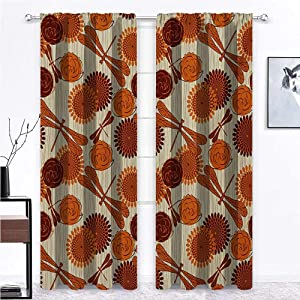 Nomorer Curtains Blackout Dragonfly for Kitchen Cafe Decor Modern Retro Vintage Design Flowers and Bird Like Bugs Art Print 84