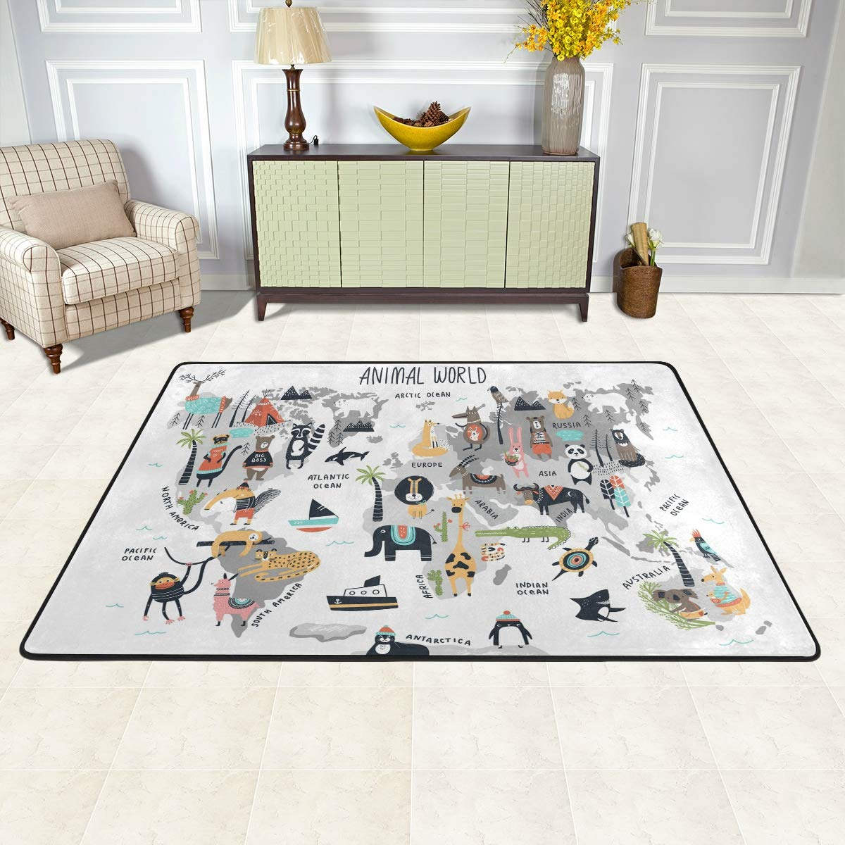 Redecor Teppich Kinderzimmer Wohnzimmerteppich Schlafzimmer K/¨/¹Che rutschfest 91x60 cm Weltkarte Tiere