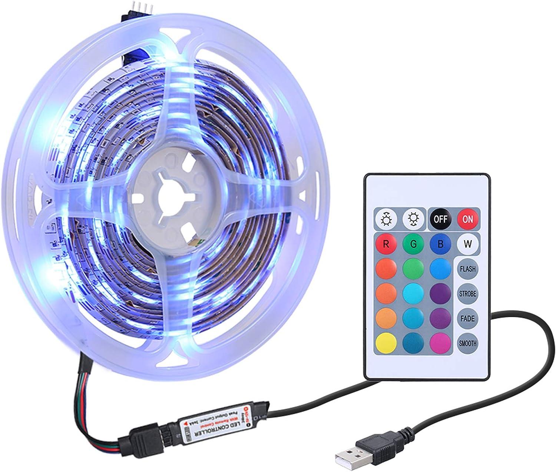 Leeofty Luz LED RGB con Control Remoto Alimentación USB 16 Colores 4 Modos de iluminación IP65, para TV, escaparate, decoración de Fiesta Familiar, Uso en Interiores y Exteriores de Bodas