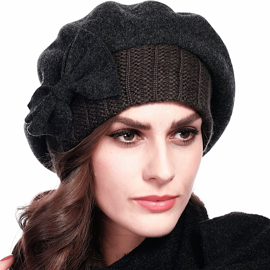 ed769e2c137 Z S Women Wool Beret Knit Cap With Bow (Black) at Amazon Women s Clothing  store