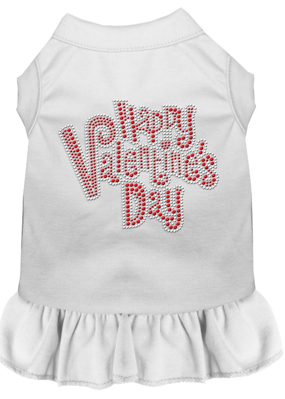 Mirage Pet Products 57-56 LGWT White Happy Valentines Day Rhinestone Dress, Large