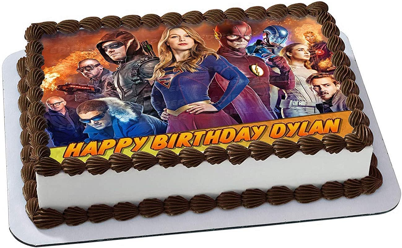 Admirable Amazon Com Legends Of Tomorrow Supergirl Flash Edible Cake Topper Funny Birthday Cards Online Elaedamsfinfo