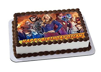 Legends Of Tomorrow Supergirl Flash Edible Cake Topper Personalized Birthday 1 2 Size Sheet Decoration