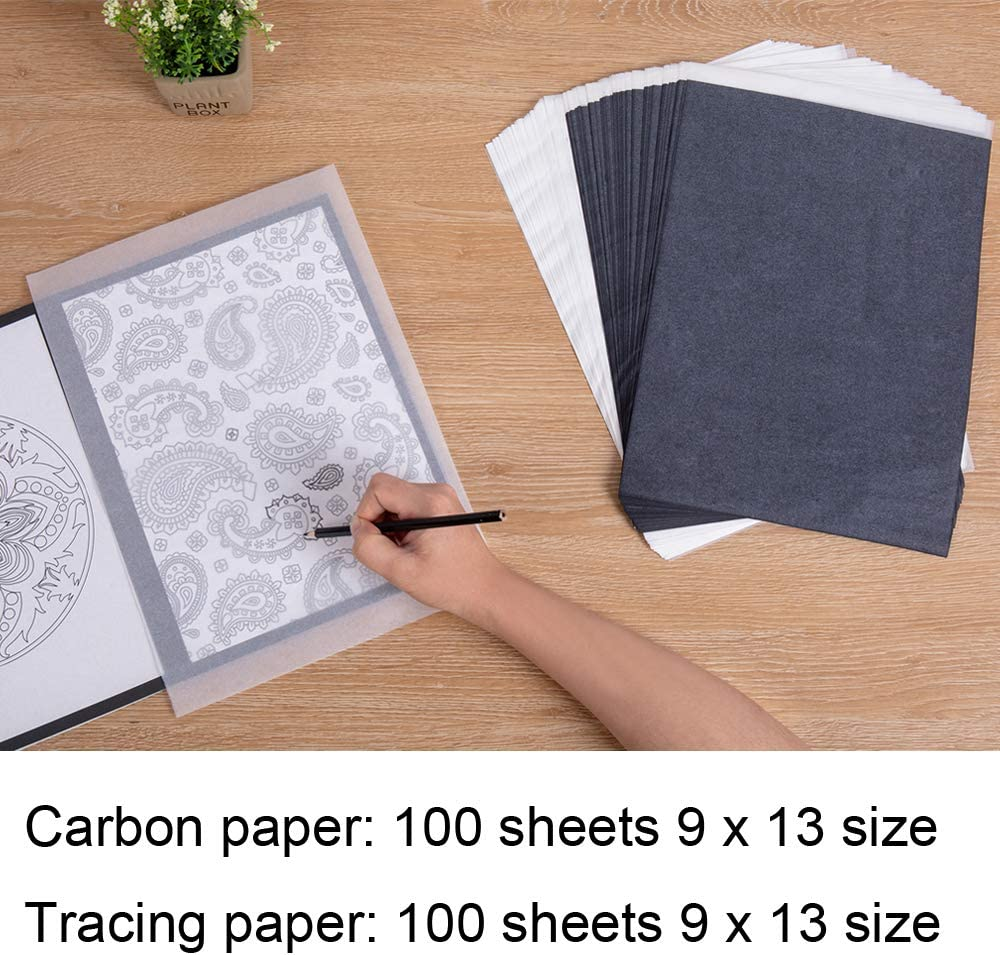 Canvas and Other Art Surfaces- 200 Sheets Black Graphite Transfer Tracing Paper for Wood with 5PCS Embossing Styluses Stylus 9 x 13 Inches Paper Offeara Carbon Paper