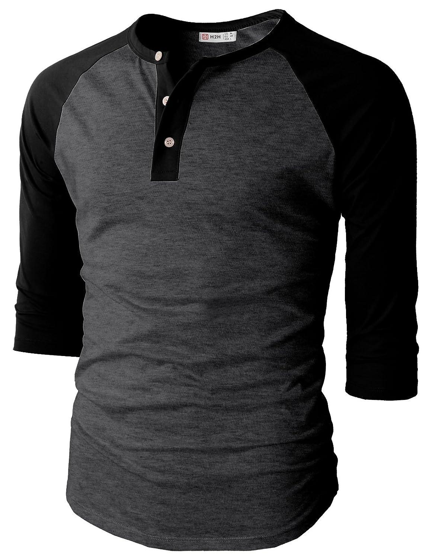 【H2H】ベーシック メンズ カジュアル ファッション オシャレ カラー ヘンリーネック 七分袖 ティーシャツ CMTTS0174 B01HI3AO6Q 5L チャコールブラック チャコールブラック 5L