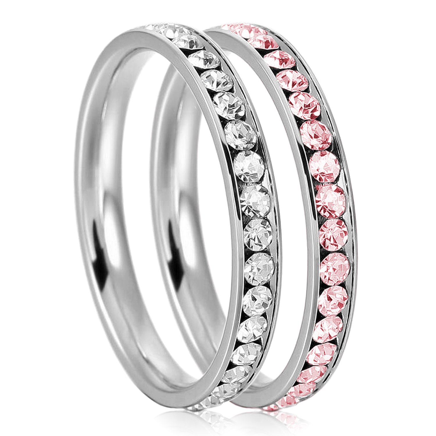 3mm Stainless Steel Eternity Clear & Rosaline Color Crystal Stackable Wedding Band Rings (2 pieces) Set Payless Outlet LJR973-SET05