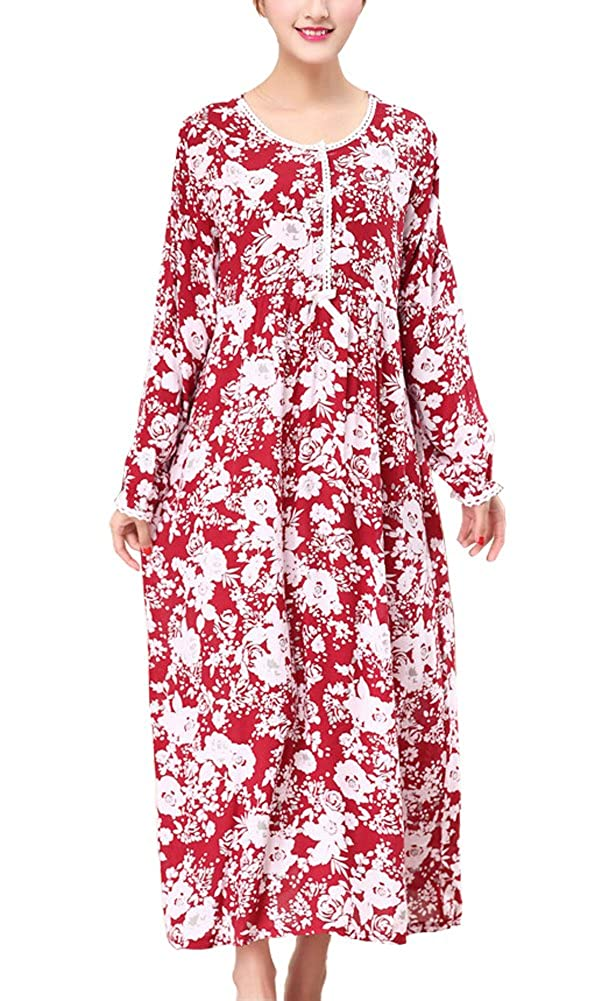 Kevansly Women's Floral Cotton Long Sleeve Nightgown, Long Henley Sleep Dress