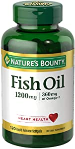 Nature's Bounty Fish Oil, 1200 mg Omega-3, 120 Rapid Release Softgels, Dietary Supplement for Supporting Cardiovascular Health(1)