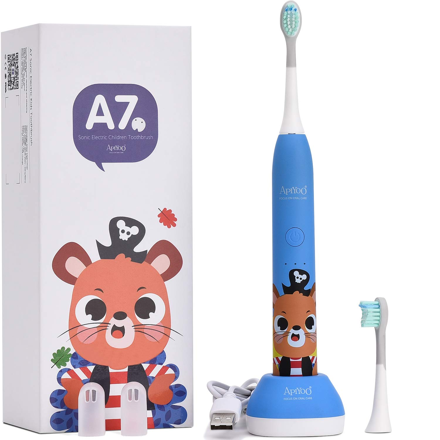 Apiyoo Kids Electric Toothbrush, A7 Wireless Rechargeable Sonic Electric Toothbrushs, IPX7 Waterproof with 3 Brushing Modes, 2 Min Smart Timer for Kids. (Blue)
