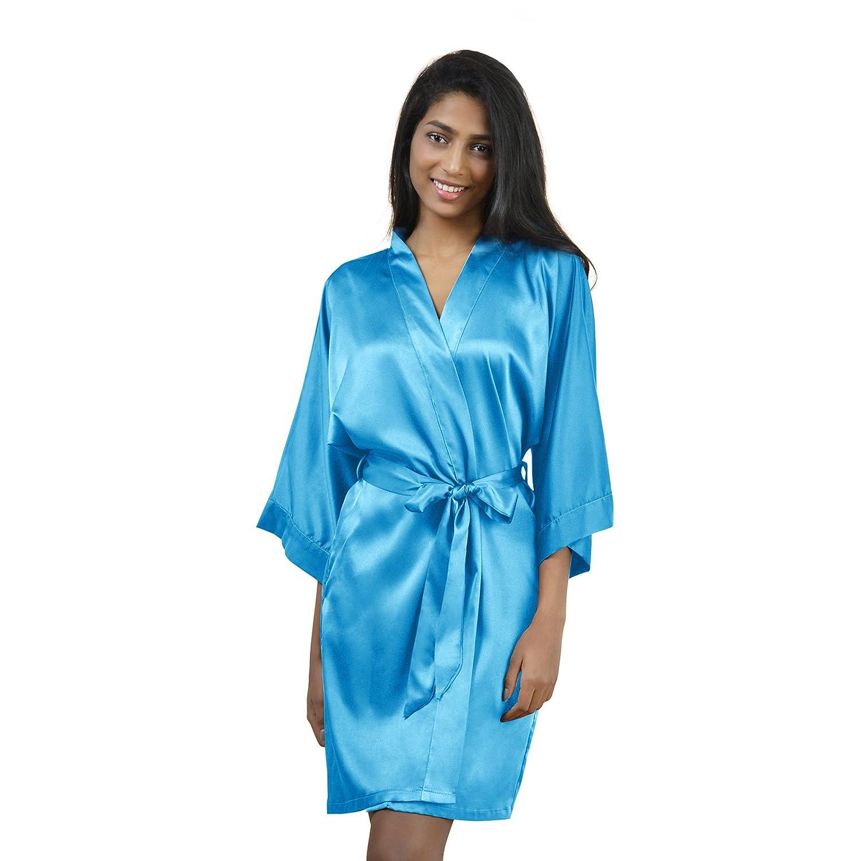 AW Womens Satin Robe Short Kimono Robe VNeck Soft Bathrobe Sleepwear Solid color, Sky bluee S