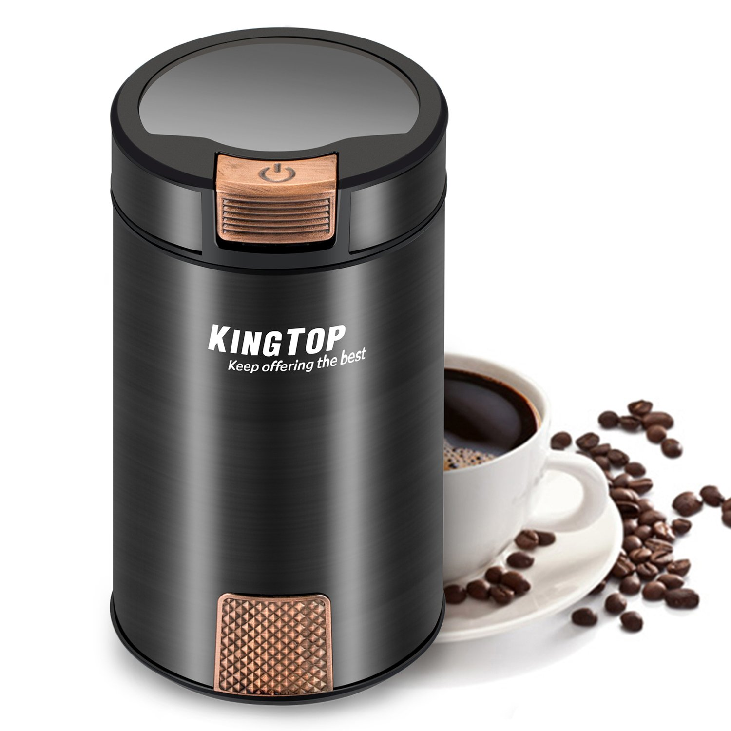 KINGTOP Coffee Grinder Electric 200W Stainless Steel Blade Grinder for Coffee Bean Seed Nut Spice Herb Pepper