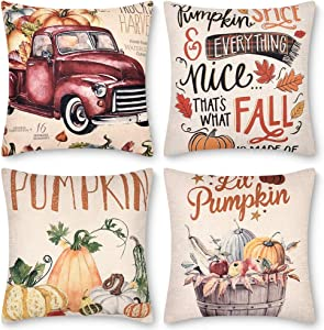 Decorbay Fall Pillow Covers 18x18 Set of 4, Thanksgiving Farmhouse Autumn Decorative Throw Pillow Covers, Cushion case Set for Sofa, Couch, Bed and Car