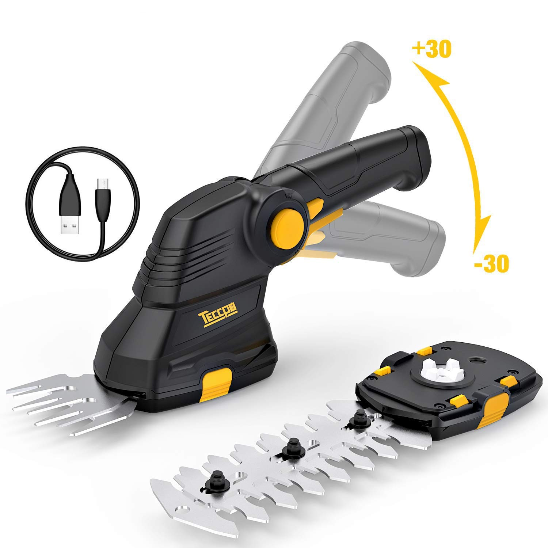 TECCPO Tijeras Cortacésped, 3.6V Tijeras cortacésped a batería de 1.5 Ah, 100min USB Rápida Carga y Mango Giratorio, Ancho de Corte 70 mm - TDGS01G