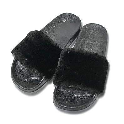 0d7b587ee35 SunbowStar Women's Slippers Soft Slide Flat EVA Sandals with Fluffy Faux Fur
