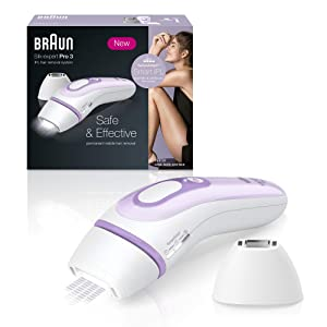 Braun Silk·expert Pro 3 PL3111 Latest Generation IPL, Permanent Hair Removal, White&Lilac