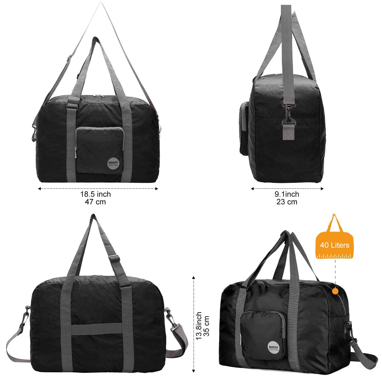Bleu arm/ée WANDF Foldable Travel Duffel Bag Sac de Voyage Pliable Sac de Sport Gym R/ésistant /à leau Nylon