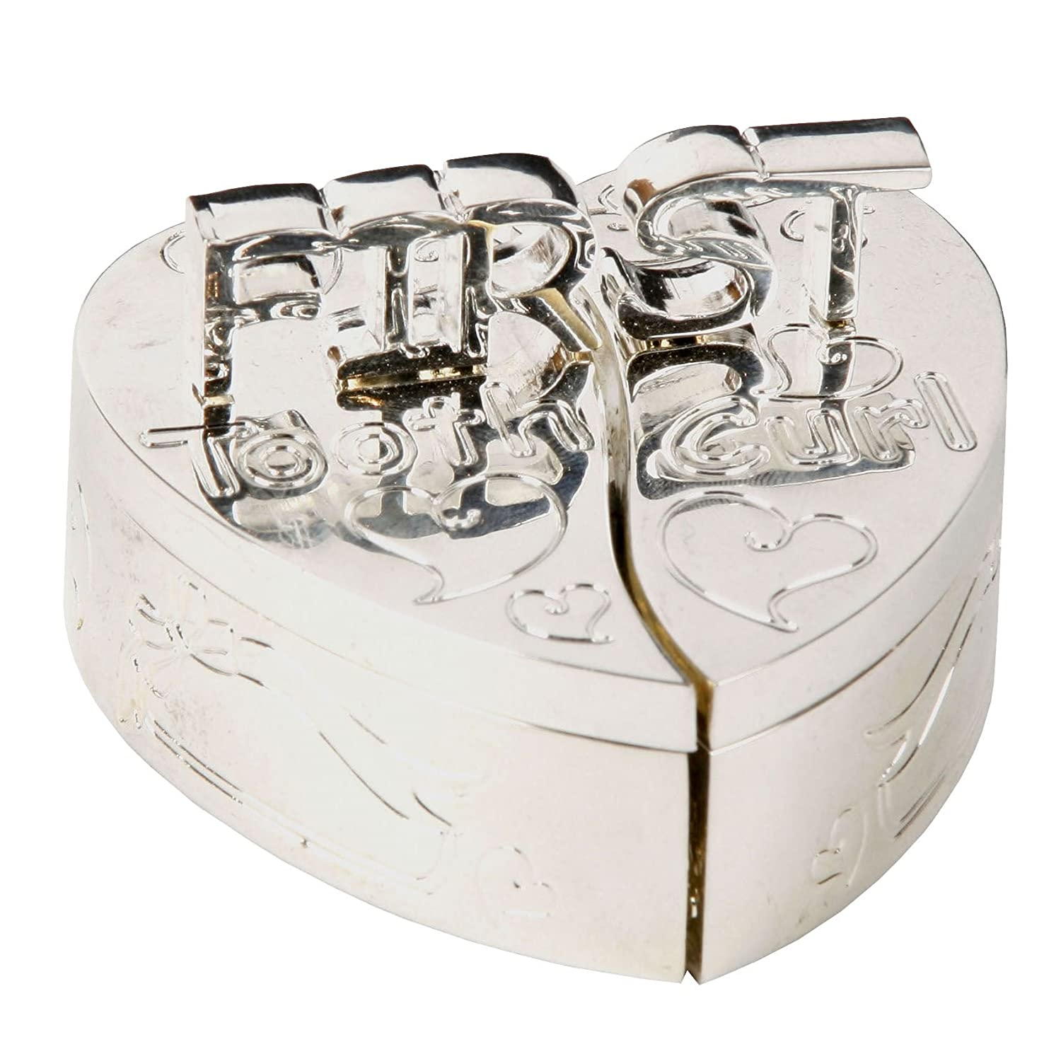First Tooth and First Curl Heart Shaped Box Set Silver Plated CG140 Juliana