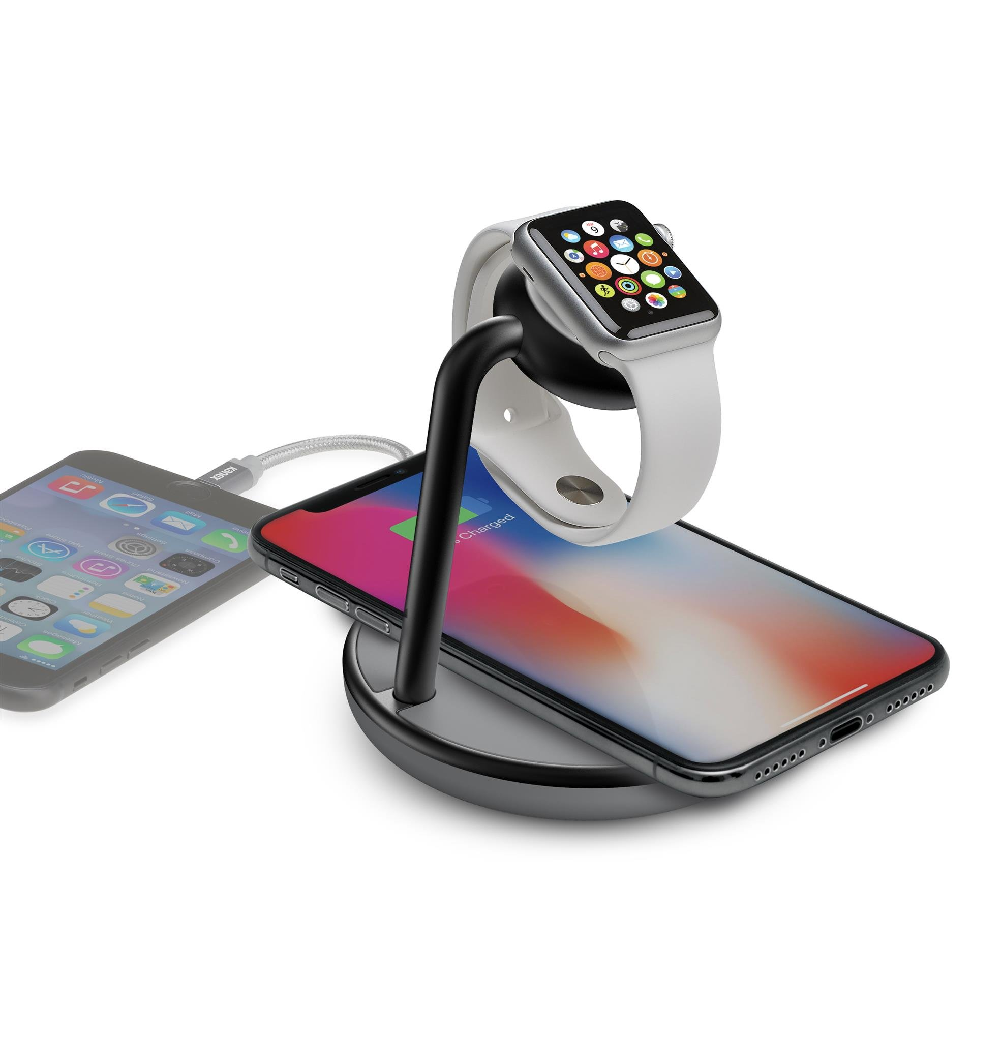 Kanex GoPower Watch Charging Stand with Wireless QI Certified Charging Base and USB Port for iPhone by Kanex