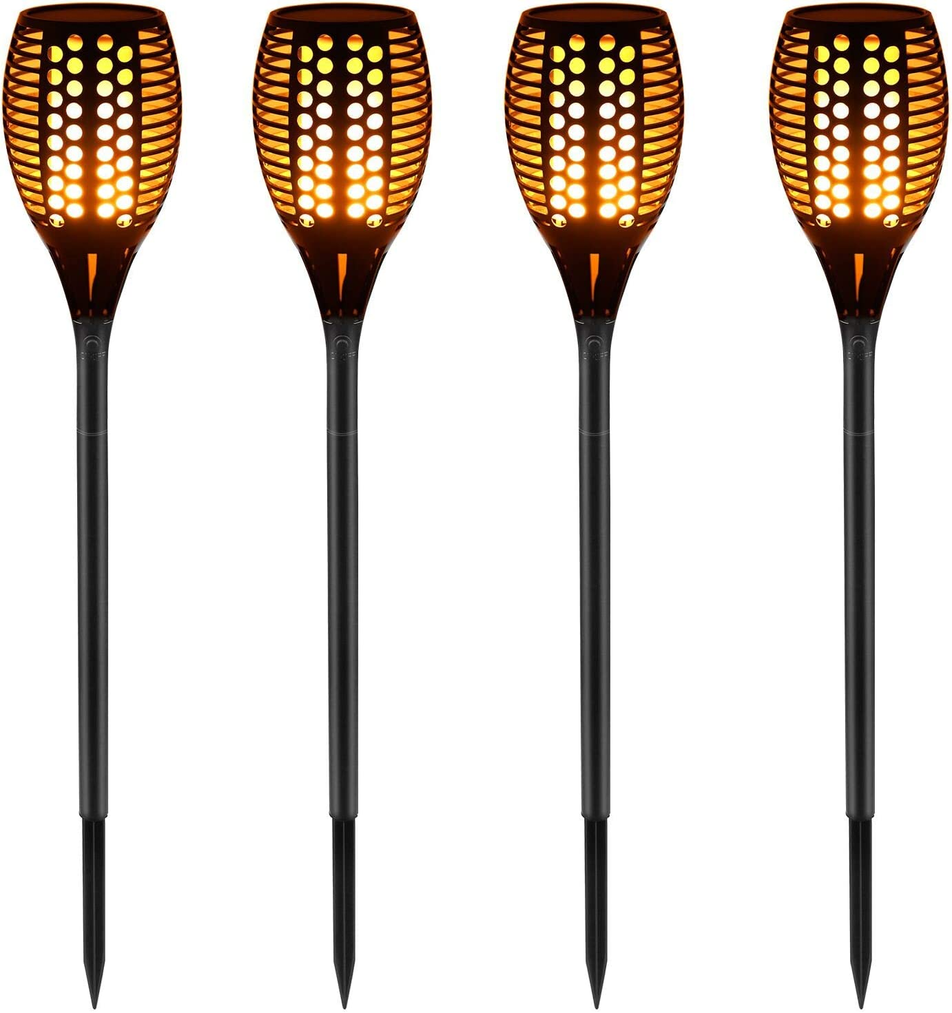 Flickering Flames Torch Solar Path Light Dancing Flame Lighting 96 LED Dusk To Dawn Flickering YEED Torches Outdoor Waterproof Garden 4 Pack Solar Lights Outdoor