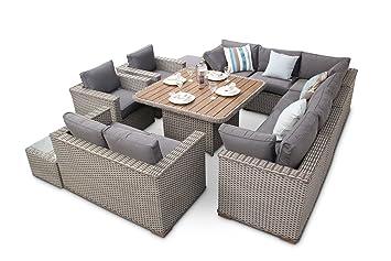 Featuredeco Luxus Bahia Modular Rattan Sofa Esszimmer Set Mit Tisch
