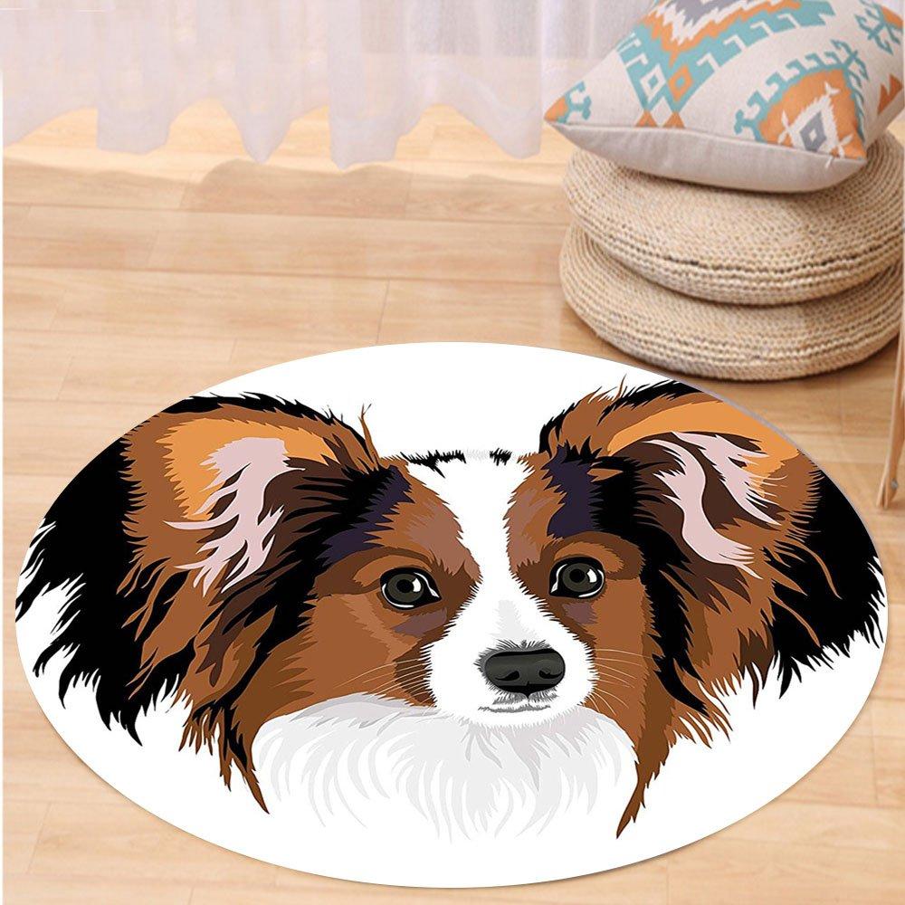 VROSELV Custom carpetAnimal Decor Cute Smart Adorable Best Friend Dog Movie Pet Cartoon Artwork Image for Bedroom Living Room Dorm Cinnamon Black White Round 79 inches