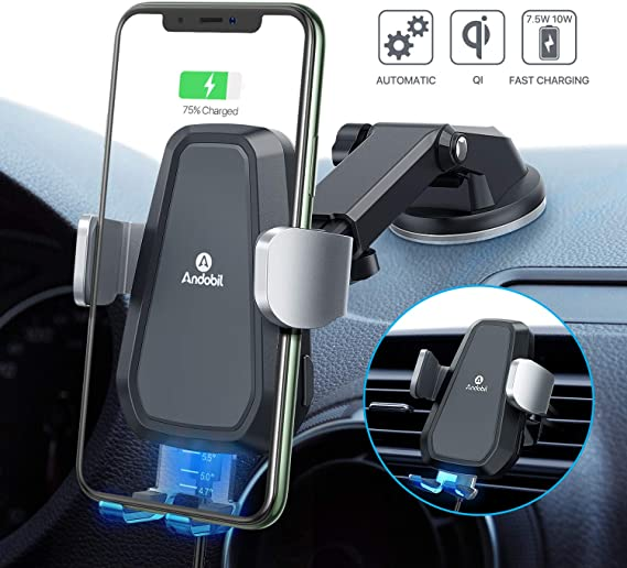 Andobil Wireless Car Charger Mount【Auto Clamping】Qi Fast Charging 10W7.5W Car iPhone Charger Holder for Air Vent & Dash, Compatible iPhone 11