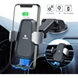 Andobil Wireless Car Charger Mount Auto Clamping, Qi Fast Charging 10W/7.5W Car Phone Holder Charger for Air Vent & Dash, Compatible iPhone 11 Series/SE/XS/XR/8, Samsung Galaxy S20/S10/S9/Note 20/10/9