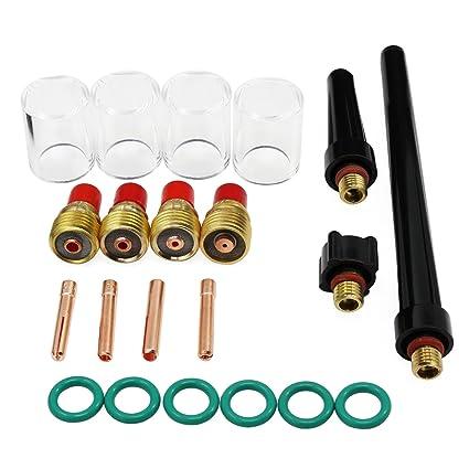 WP-9//20//25 21PCS Welding TIG Torch Gas Lens Pyrex Glass Cup Welding Kit #10 Tool