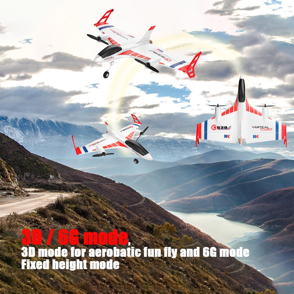 COLOR-LILIJ RC Remote Control Airplane - XK X520 2.4G 6CH - 2 pcs Powerful 1307 Brushless Motor, 3D/6G System RC Airplane EPP Anti-Crash, - -3D / 6G Mode - Easy to Fly for Even Beginners(US Stock) by COLOR-LILIJ (Image #4)