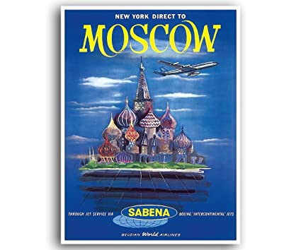 Amazon com: Moscow Vintage Travel Poster Russia Art Print