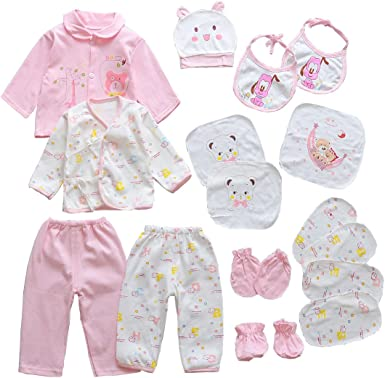 18PCS Newborn Girl Boy Clothes 0 3 Months Baby Outfits Pants Gifts Layette Set