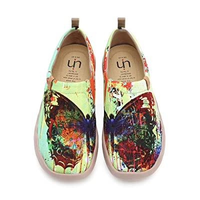 UIN Women's Butterfly Painted Canvas Slip-On Shoes Fashion Ladies Travel Shoes Multicolor | Loafers & Slip-Ons