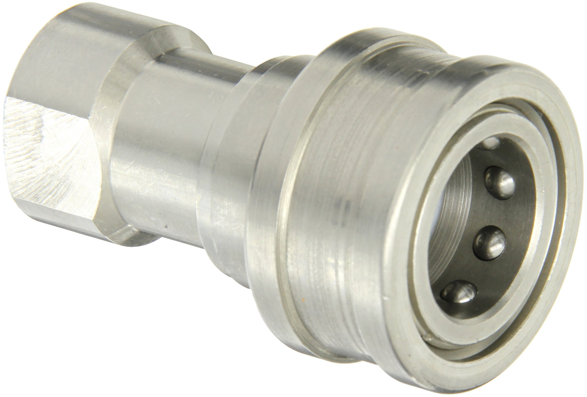 Eaton Hansen LL4HP26 Stainless Steel 303 ISO-B Interchange Hydraulic Fitting, Socket with Valve, 1/2''-14 NPTF Female, 1/2'' Body