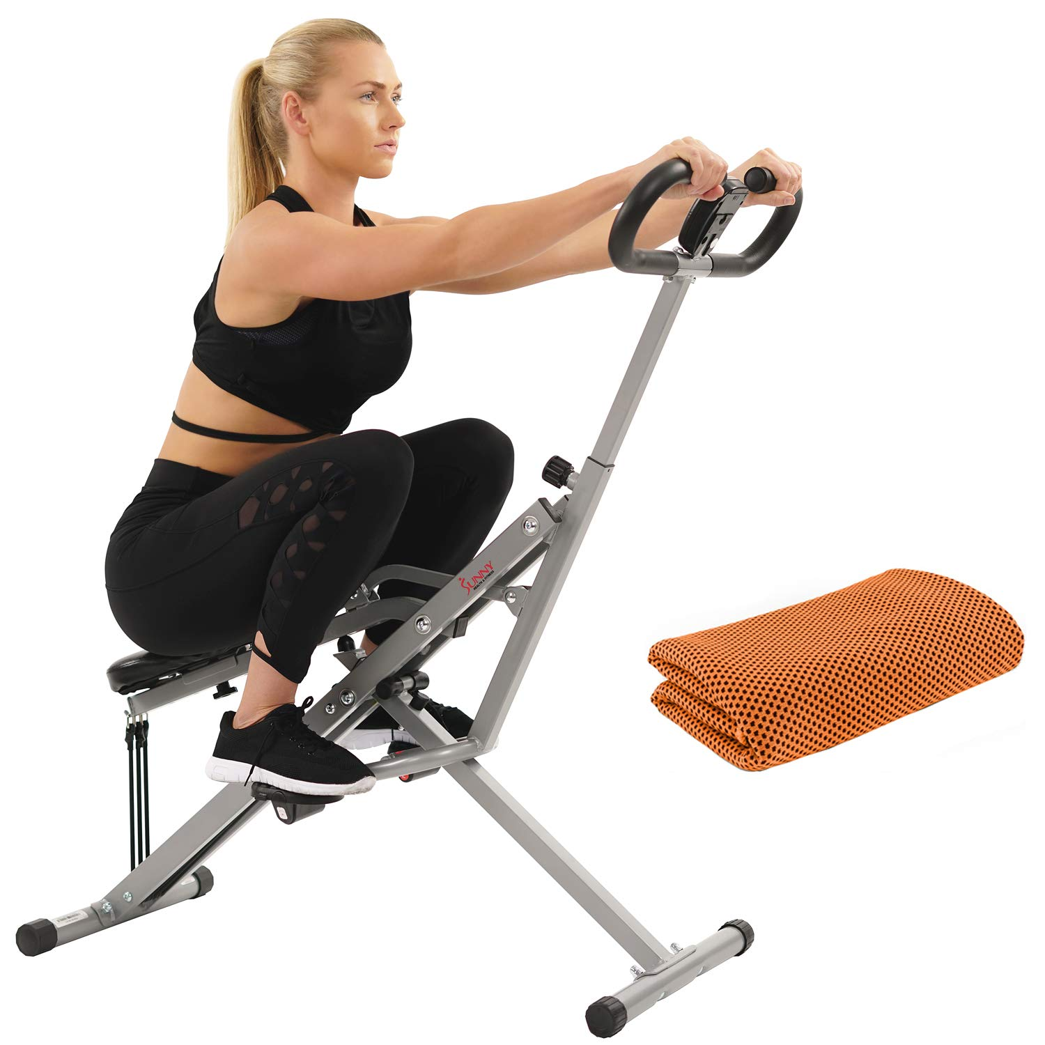 Sunny Health and Fitness Upright Squat Assist Row-N-Ride Trainer for Squat Exercise and Glutes Workout with Workout Cooling Towel by Sunny